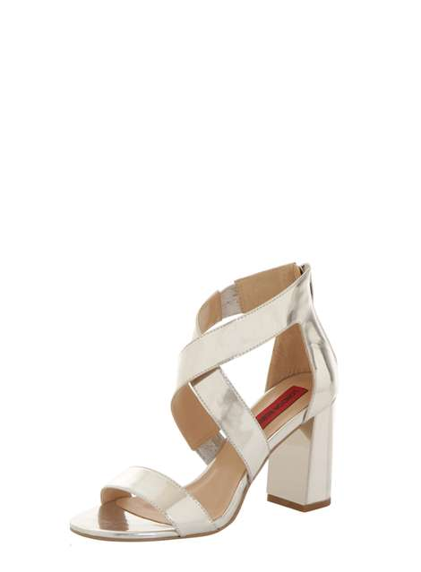 **London Rebel Metallic block heel sandals