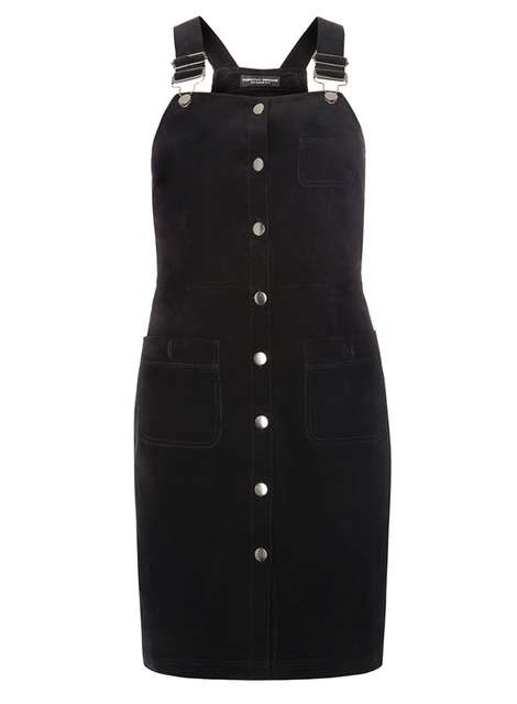 Black Button Cord Pinny Dress