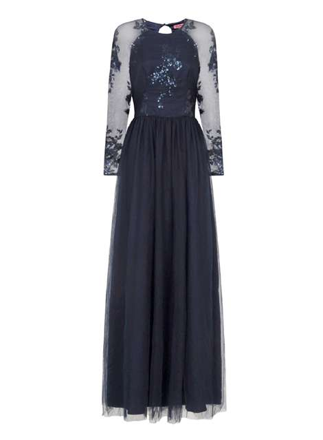 **Chi Chi London Navy Sequined Maxi Dress