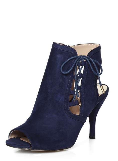 **Wide Fit Navy 'Wishful' shoe boots