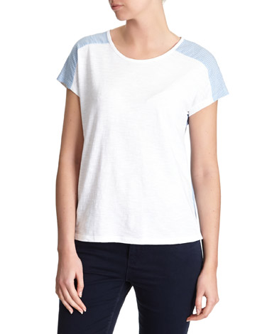Stripe Woven Back T-Shirt
