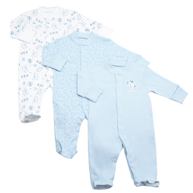 Baby Boys Tonal Sleepsuit - 3 Pack