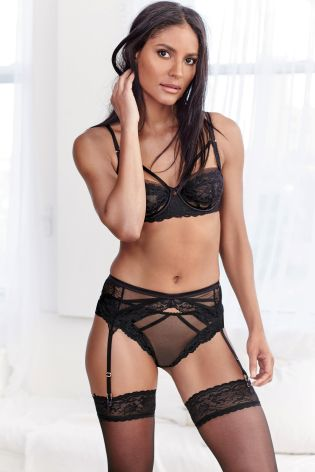 Black Lizzie Sheer Lace Non Padded Balcony Bra