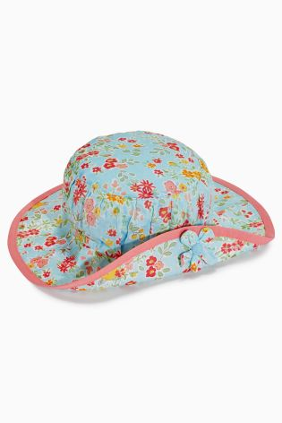 Aqua Floral Turn-Up Hat (Younger Girls)
