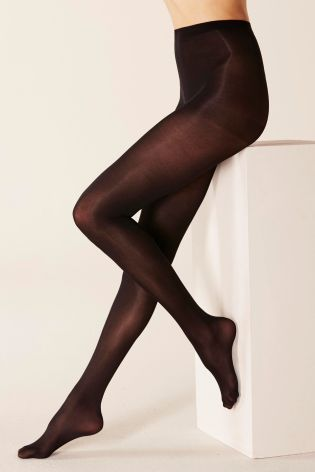 Black Thermal 60 Denier Opaque Tights Two Pack