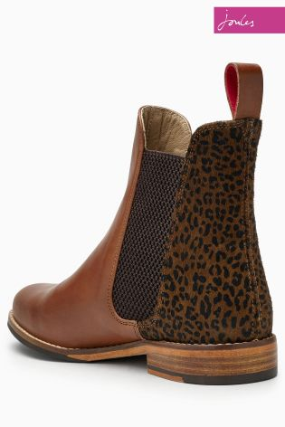 fd9188224 Joules Westbourne Brown Leopard Detail Leather Chelsea Boot