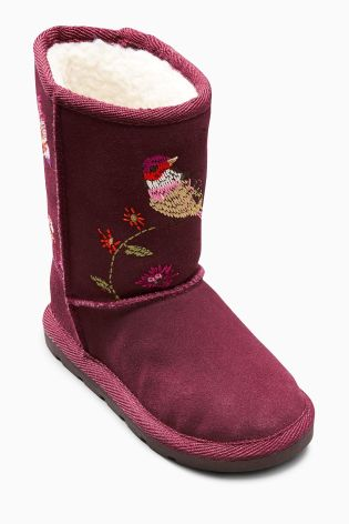 Berry Embroidered Pull-On Boots (Younger Girls)