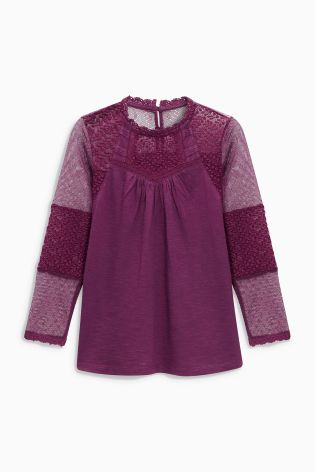 Berry Lace Sleeve Blouse (3-16yrs)