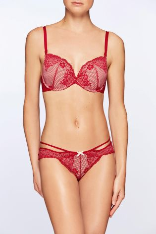 0768182fd8440 Red Mimi Wow Triple Boost Lace Plunge Bra