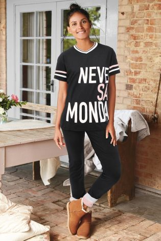 Black Never Say Monday Legging Pyjamas