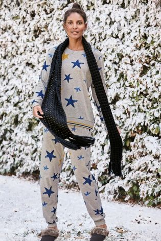 Grey Star Print Pyjamas
