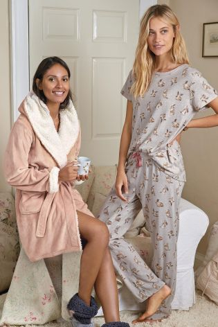 Oatmeal Wrapband Bunny Print Pyjamas