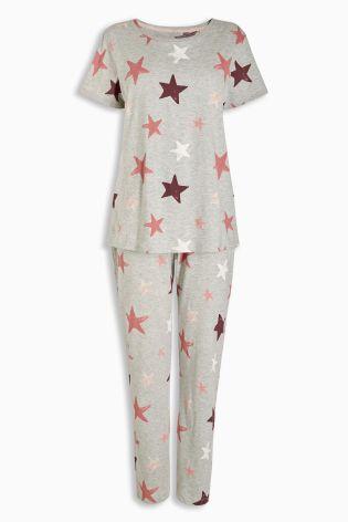 Grey Star Print Wrapband Pyjamas