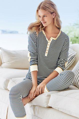 Navy/White Stripe Pyjamas