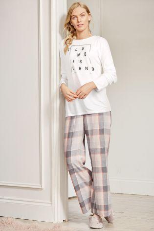 Pink Cotton Check Pyjama Bottoms