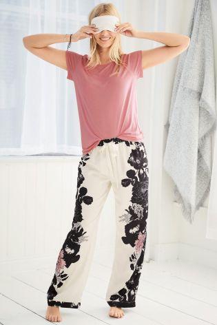 Pink Satin Floral Print Pyjama Bottoms