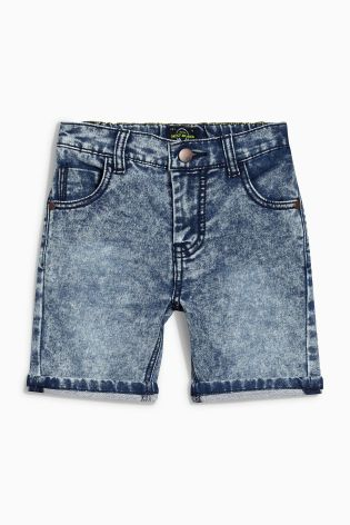 Acid Wash Jersey Look Denim Shorts (3-16yrs)