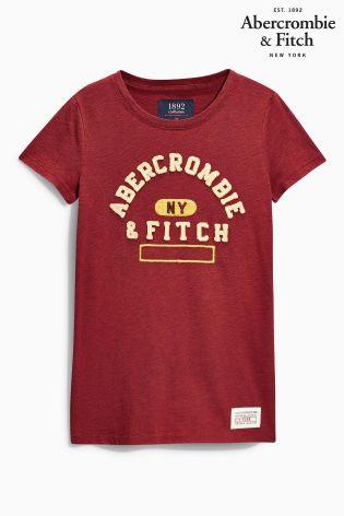 Burgundy Abercrombie & Fitch NY Logo T-Shirt