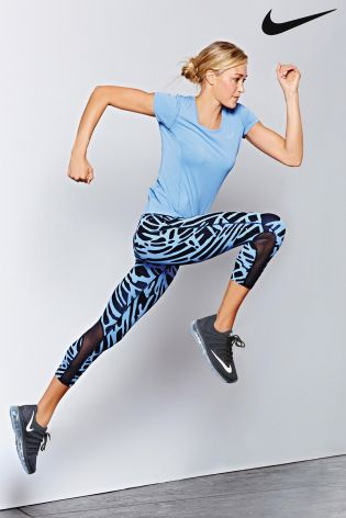 Blue Nike Run Dri Fit Contour Short Sleeve T-Shirt
