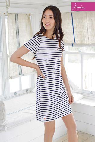 Cream Joules Riviera Stripe Jersey T-Shirt Dress