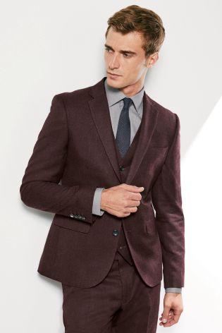 9e40ecb6b Burgundy Flannel Skinny Fit Suit: Jacket