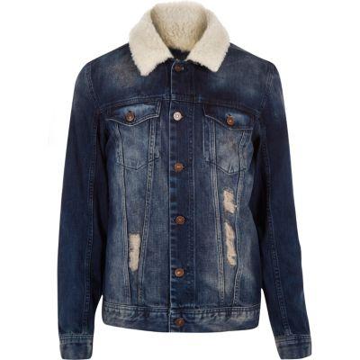 3cf8a030f Blue borg collar denim jacket