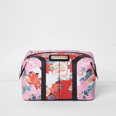 cafb932d1 Pink and red floral print make-up bag