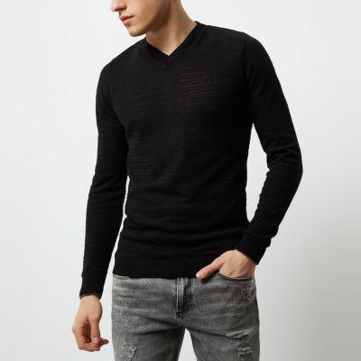 54cb13adb09 Black textured knit V neck slim fit jumper