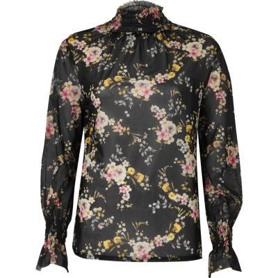Black floral sheer mesh blouse