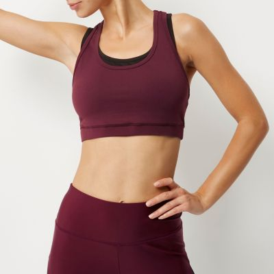 RI Active burgundy layered sports bra top