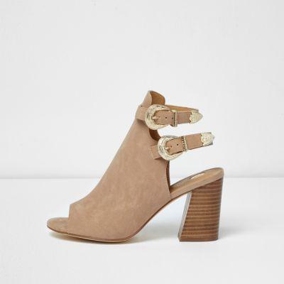 Beige western style shoe boots