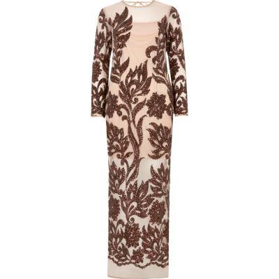 Beige long sleeve embellished maxi dress