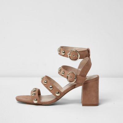 Beige stud block heel sandals