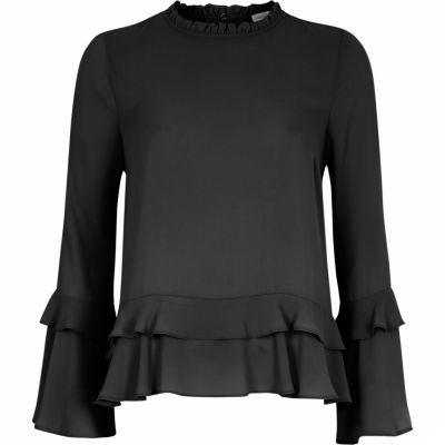 Black double frill long sleeve top