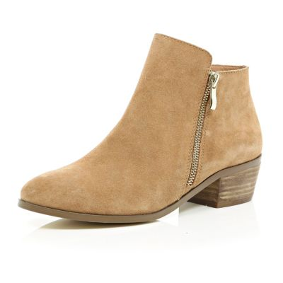 Beige suede zip side ankle boots
