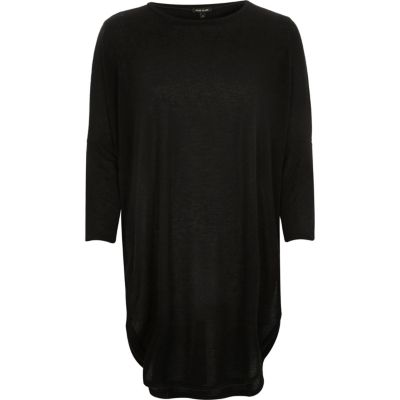 Black knitted longline circle t-shirt