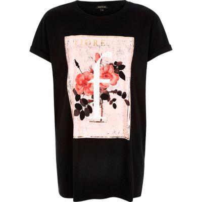 Black flower print oversized t-shirt
