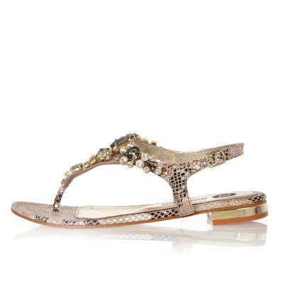 Beige embellished snake print sandals