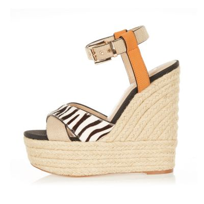 Beige leather zebra espadrille wedges