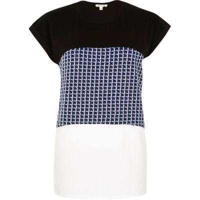 Blue colour block jacquard t-shirt