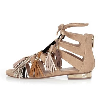Beige tassel lace-up sandals