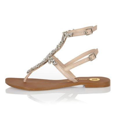 Beige embellished T-bar sandals