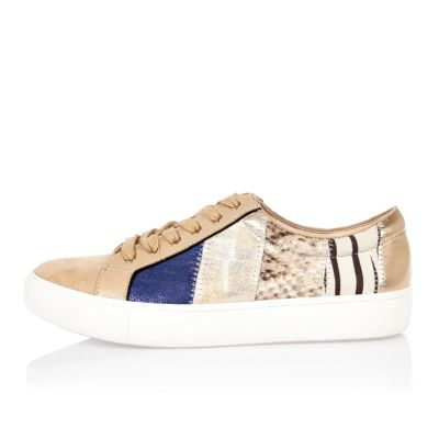 Beige patchwork trainers