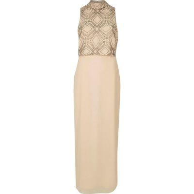 Beige embroidered high neck maxi dress
