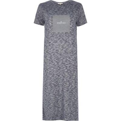 Blue box print maxi t-shirt dress