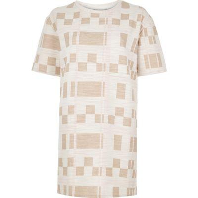 Cream check print oversized t-shirt