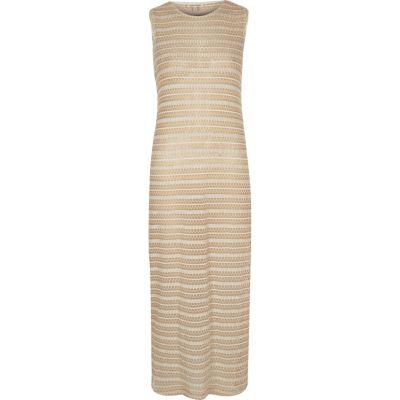 Beige pattern maxi dress
