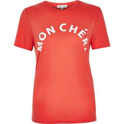 Coral Mon Cheri print t-shirt