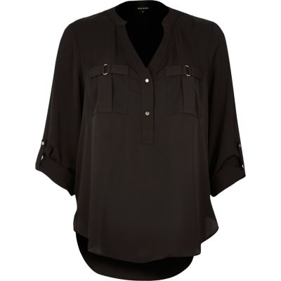 Black placket blouse